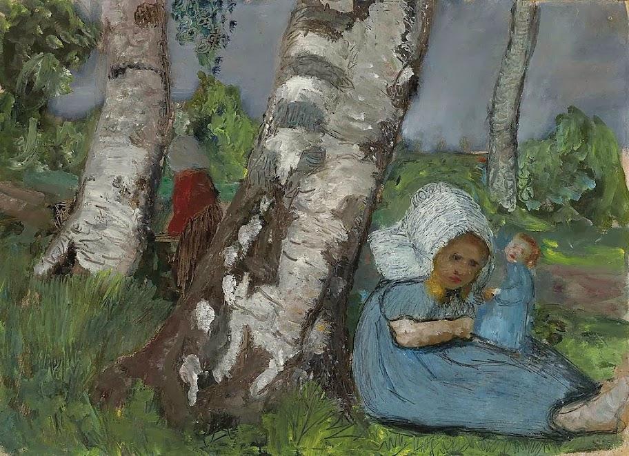 Paula Modersohn-Becker - Kind mit Puppe am Birkenstamm sitzend