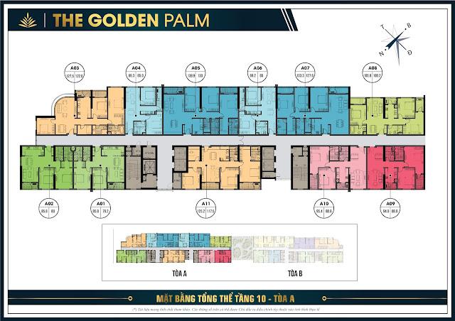 Mặt bằng thiết kế tầng 10 tòa A The Golden Palm