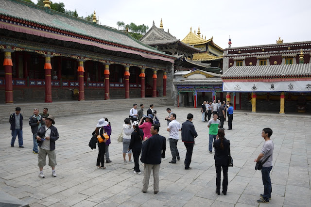 Scene with tourists at Kumbum Monastery (Taer Si) in Qinghai, China