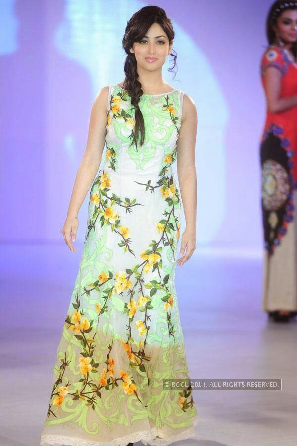 Yami Gautam walks the ramp during Jabong Online Fashion Week, held at Hotel Le Meridian, in Delhi, on July 30, 2014.