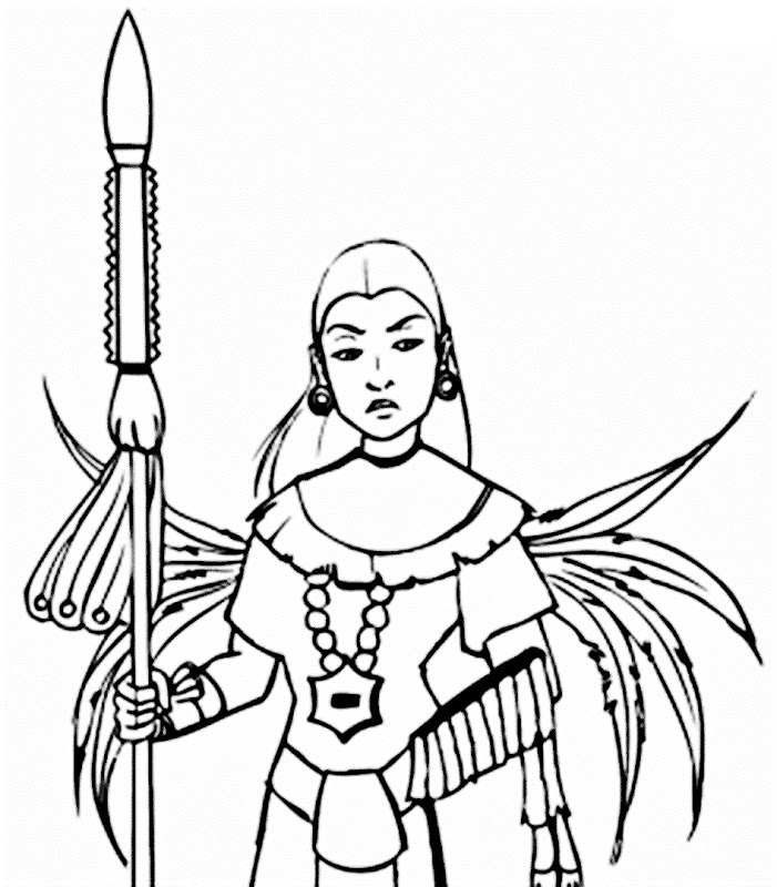 Images Mayan warrior woman coloring pages