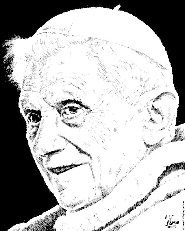 Ink drawing of Pope Benedict XVI, using Krita 2.5.