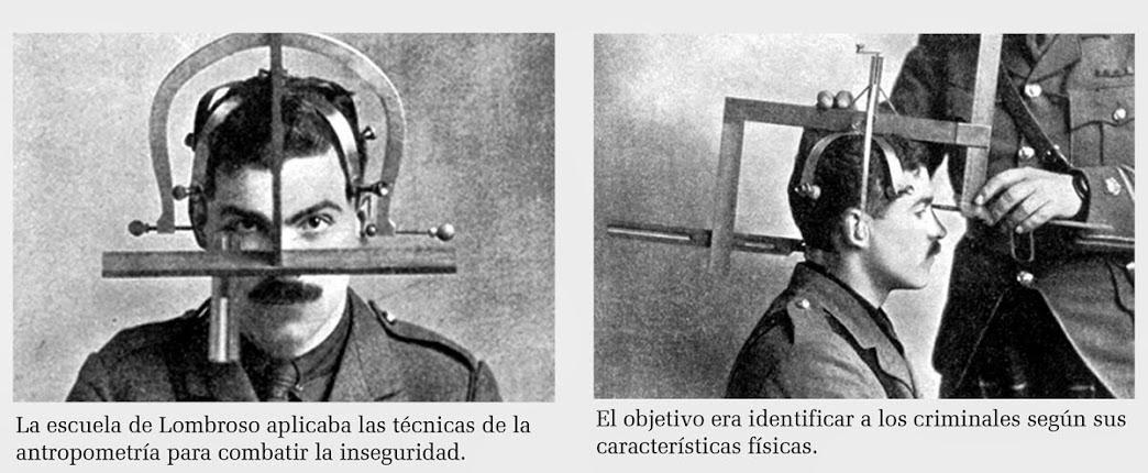 """[1] """"A escola de Lombroso aplicava técnicas de antropometria aplicada para combater a insegurança""""; [2] """"O objetivo era identificar os criminosos de acordo com as suas características físicas"""". Fotomontagem: autor desconhecido."""