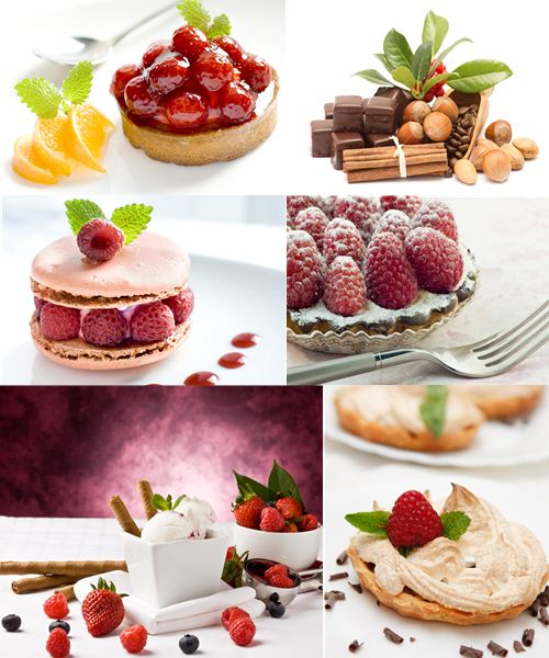 Collection of desserts and cakes