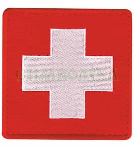 медичний хрест 8,5*8,5 см тк червона, нитка біла \Нарукавна емблема