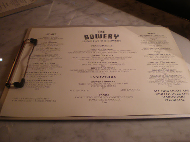 Tawfik Shehata's lunch menu at the Bowery.