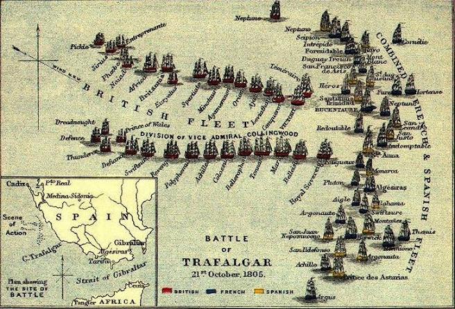 Disposições táticas da Batalha: ingleses com duas colunas transversais à formação franco-espanhola em banda (fileira indiana). Pintura: Autor desconhecido.