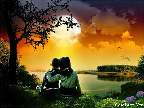 hình ảnh đôi bạn thân ngồi ngắm trăng