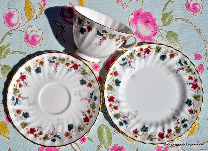 Canterbury pattern teacup, saucer & tea plate