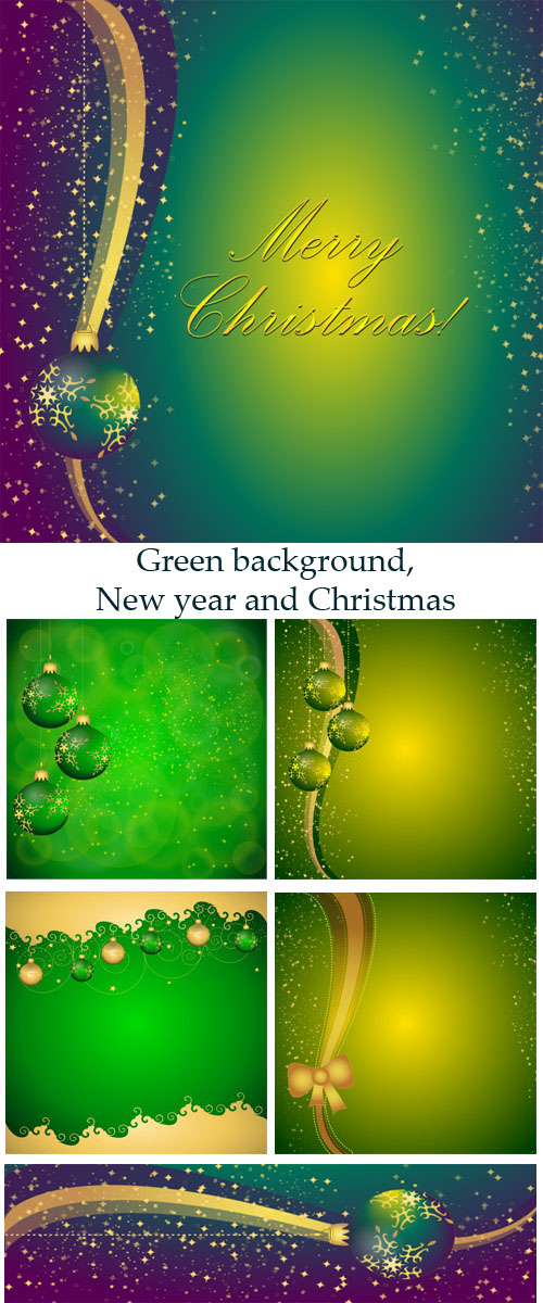 Stock: Green background, New year and Christmas