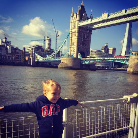Blake Clement outside Tower Bridge at the Fireman Sam Ocean Rescue event