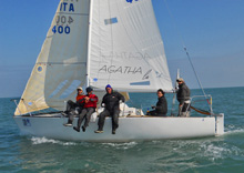 J/24 team- sailing off Cervia, italy in sailboat regatta