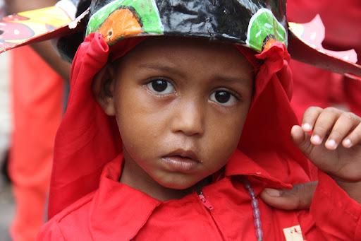 Niño vestido como diablo de Yare en el día de Corpus Christi en San Francisco de Yare, Municipio Bolivar, Miranda Venezuela