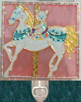 Pink Teddy Bear Carousel Horse Nightlight