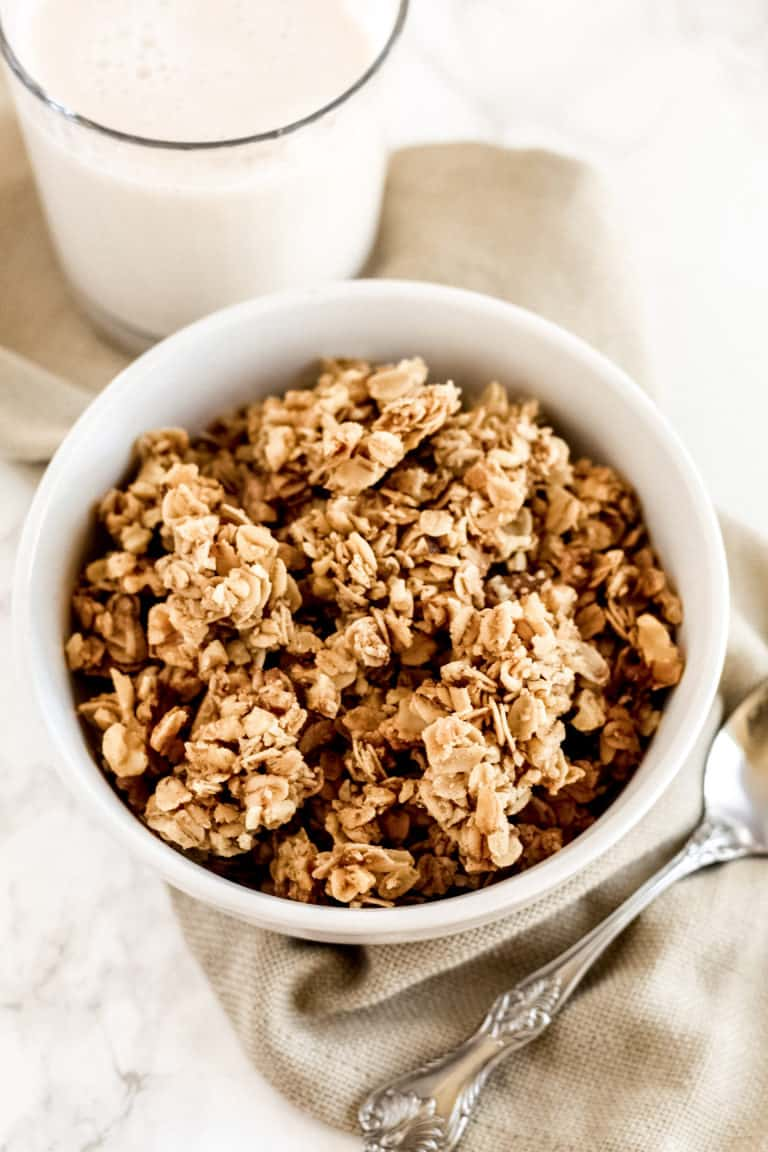 This is a photo of granola, it is a quick and easy breakfast idea.