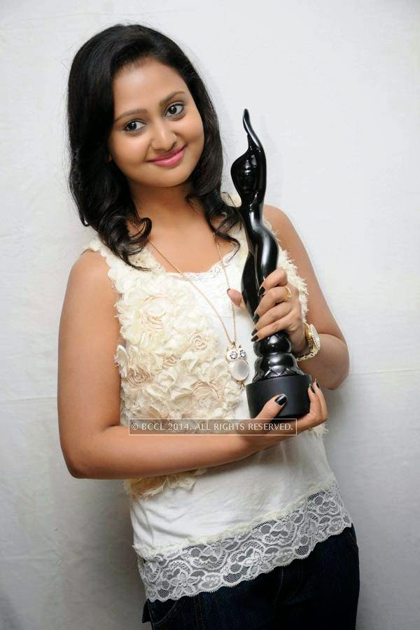 Amulya at the press meet of Male in Bangalore.
