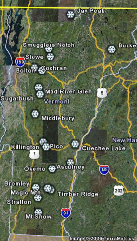 Skiing New England Map.Ski Resorts In New England Grays On Trays