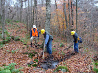 It's been a wet fall so far, and the waterbars need to be cleared of sediment & leaf litter.