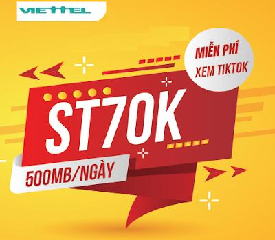 Miễn phí 15GB Data, xem Tiktok vô tư Gói ST70K Viettel