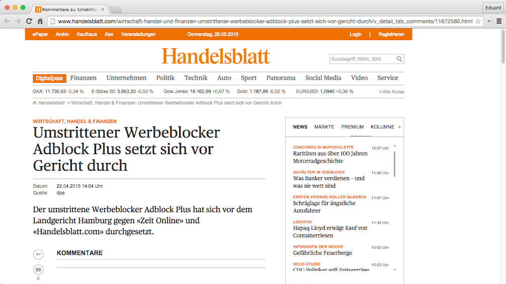 Handelsblatt MET AdBlock Plus (geen advertenties!)