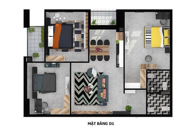 Mặt bằng căn hộ D1