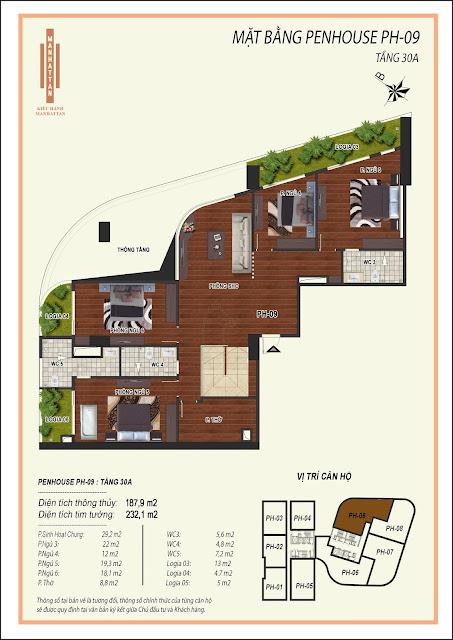 Thiết kế căn hộ Penhouse 09, diện tích 187,9m2 (diện tích 2 tầng là 375,8m2), có 06 phòng ngủ