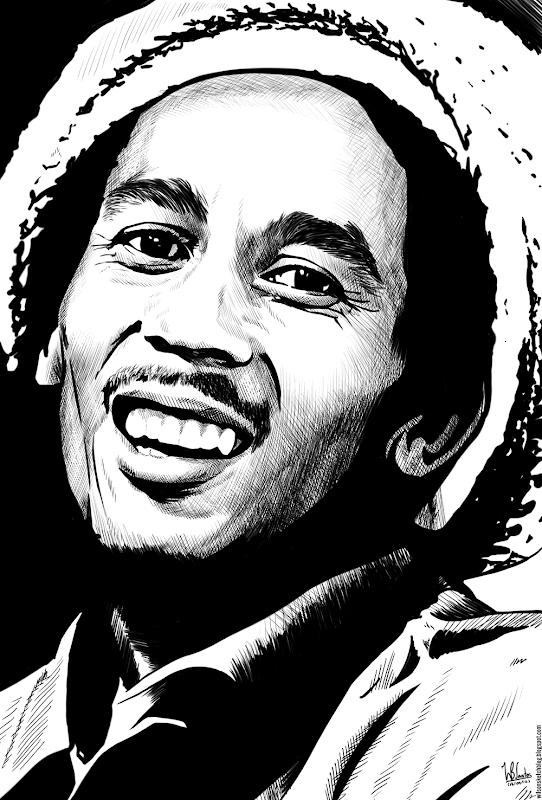 Ink drawing of Bob Marley, using Krita 2.4.