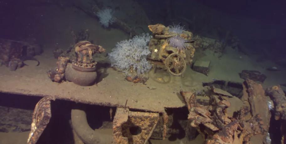 wwII musashi caught on octo rov camera sibuyan sea video