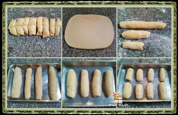 Modelando baguetes e pão para cachorro-quente