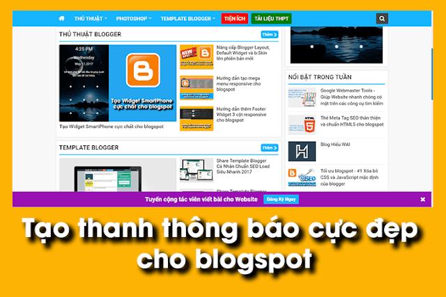 Tạo Thanh Thông Báo Bên Dưới Cho Blog