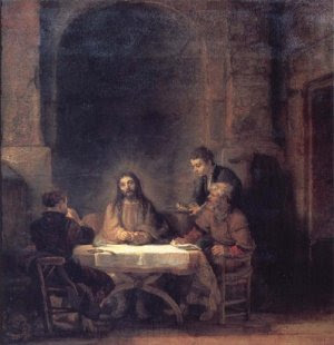 The Risen Christ at Emmaus, by Rembandt