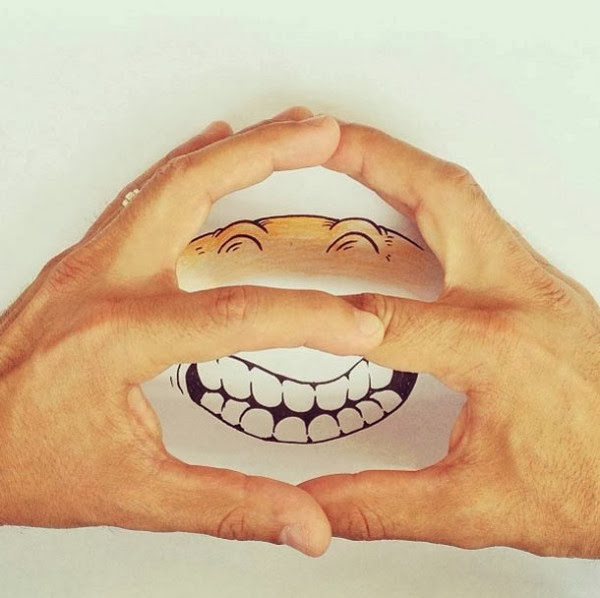 #Alex Solis善用實體與自己的平面插畫:手指忍者龜! 4