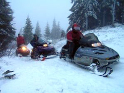 Snowmobile Carpathian Mountains