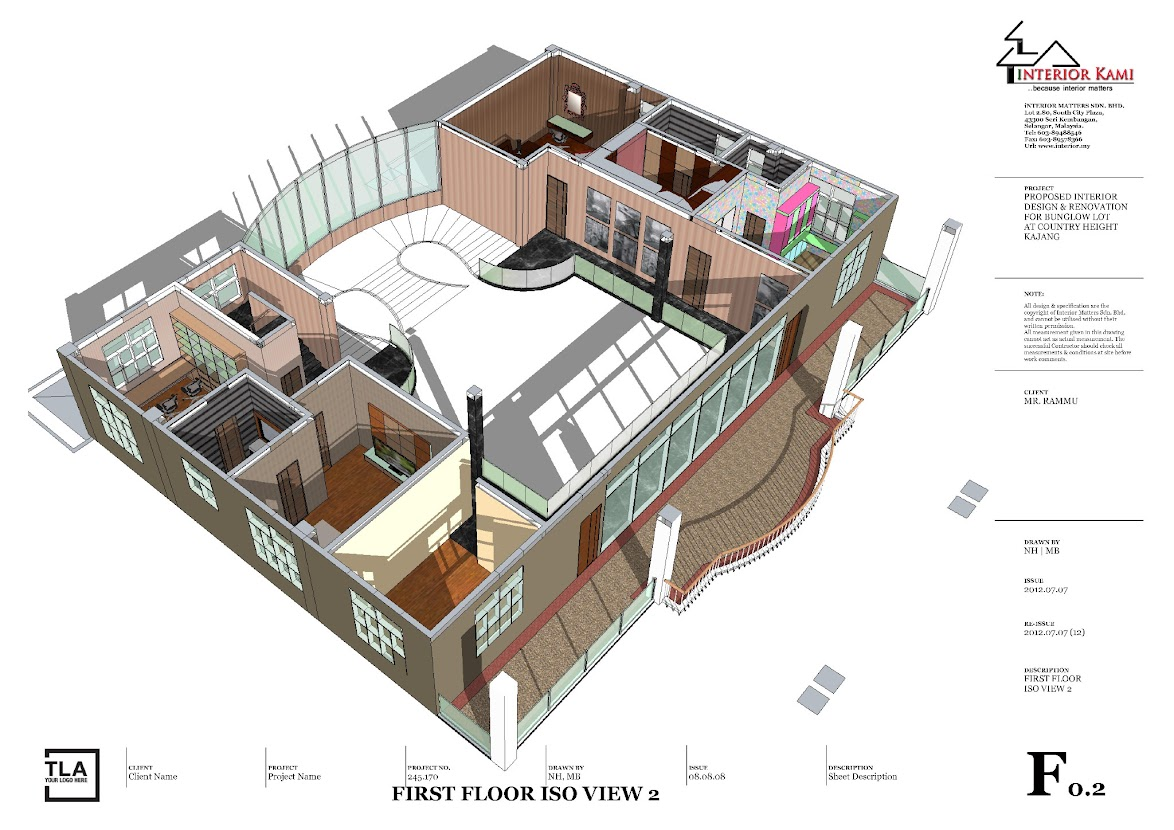 1st floor 3d layout plan for country height bunglw