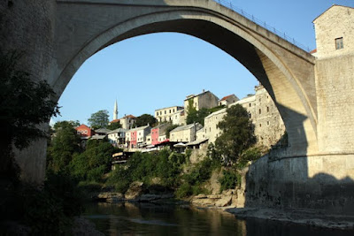 Old Bridge and old town in Mostar Bosnia