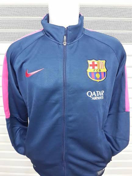 Jual Jaket Barcelona Biru Dongker List Pink 2014-2015