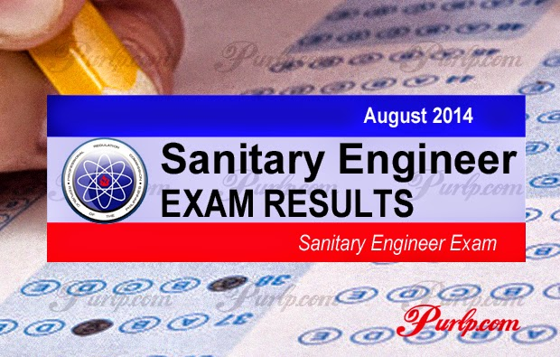 August 2014 Sanitary Engineer Exam Results