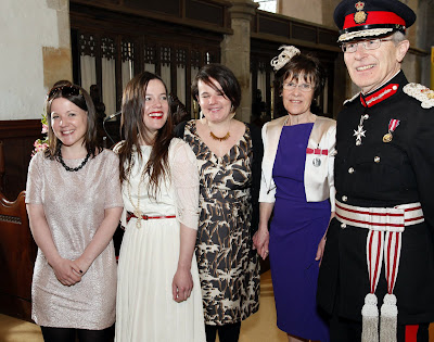 Jo Evans receives The British Empire Medal from HM Lord Lieutenant for East Sussex, Mr Peter J. Field.  at St Denys Church Rotherfield. Jo is the Founder of Rotherfield St Martin. Jo is pictured with daughters Joanna, Katie and Sasha.  29/04/13