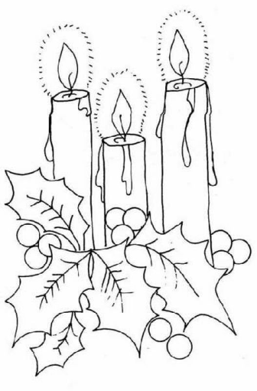 Three Christmas candles coloring pages