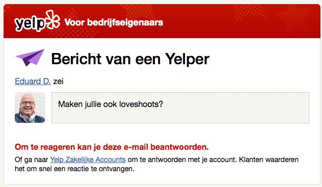 Yelp laat je berichten naar bedrijven sturen