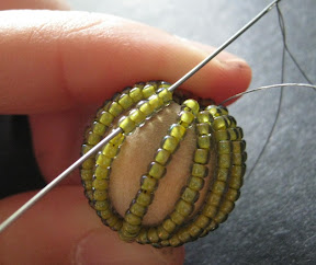 Weaving Thread Into a Bead Covered Bead