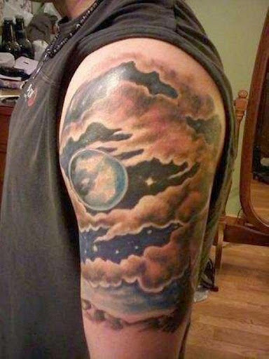 Cloud tattoo with moon and stars