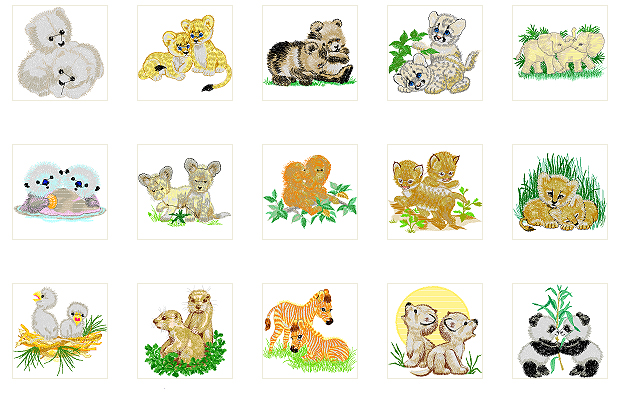 Machine embroidery designs adorable baby animals two by