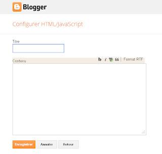 Panneau de configuration du gadget HTML/Javascript