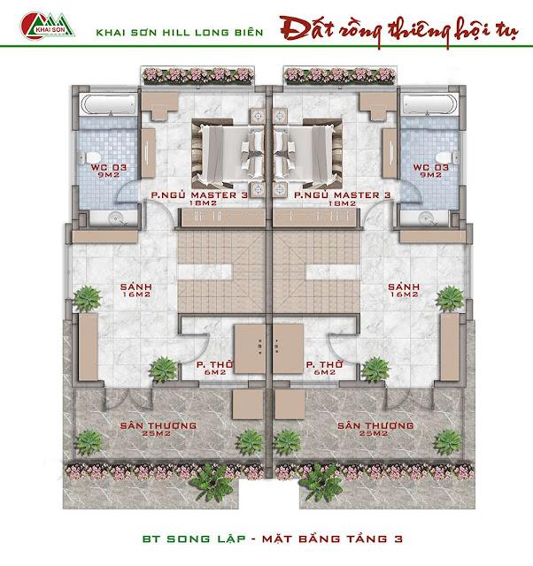 Thiết kế tầng 3 biệt thự song lập