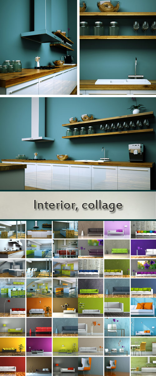 Stock Photo: Interior, collage