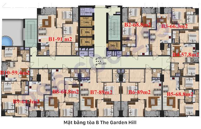 Mặt bằng tòa B Garden Hill - 99 Trần Bình