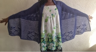 Blue filet crochet shawl