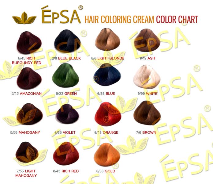 FOR EpSA HAIR COLORING CREAM & EpSA EXCELLENCE SET HAIR COLOR THESE ...