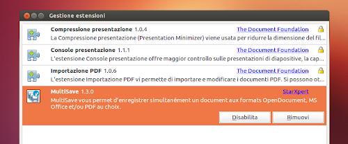 LibreOffice - MultiSave - gestore estensioni
